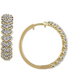 Diamond Chevron Hoop Earrings (1 ct. t.w.) in 10k Gold