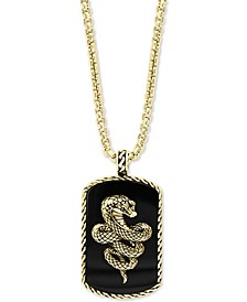 """EFFY® Men's Onyx Snake Dog Tag 22"""" Pendant Necklace in 18k Gold-Plated Sterling Silver"""