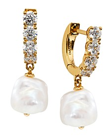Imitation Pearl Charm Hoop Earrings, Created for Macy's