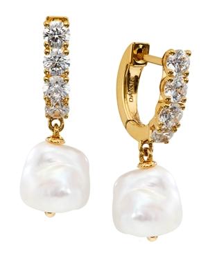 Imitation Pearl Charm Hoop Earrings