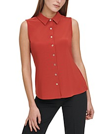 Sleeveless Button-Down Top