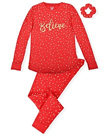 Little Girl's 2 Piece Believe Pajama Set with Scrunchie