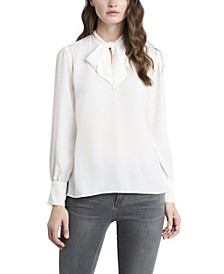 Women's Long Sleeve Tie Neck Blouse