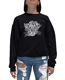 Women's Word Art Crewneck Cat Face Sweatshirt