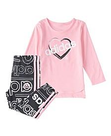 Baby Girls Long Sleeve Tee & Printed Tight Set