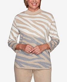 Women's Plus Size Glacier Lake Animal Jacquard Sweater