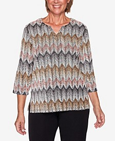 Women's Plus Size Glacier Lake Chenille Zigzag Top