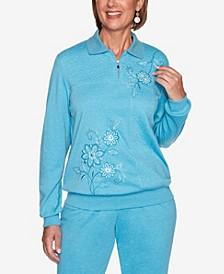 Women's Plus Size Long Weekend Spliced Asymmetric Floral Top
