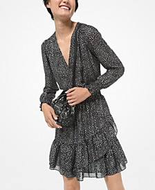 Star-Print Ruffled Dress
