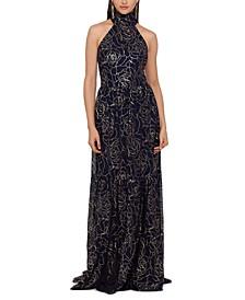 Foil-Print Halter-Neck Gown