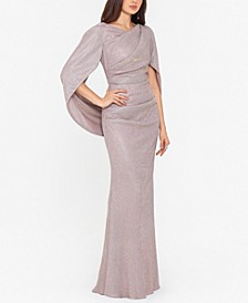 Glitter Drape-Back Cape Gown