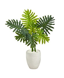 Philodendron Artificial Plant in White Planter Real Touch