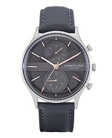Men's Multifunction Gray Genuine Leather Strap Watch 43mm