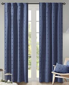 "Brooklyn 42"" x 63"" Cotton Jacquard Pom Pom Curtain Panel"