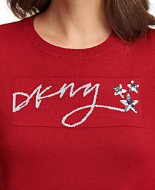 Sequined Crewneck Script Logo Sweater