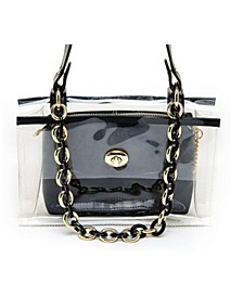 Clear Chain Embellished Shoulder Bag