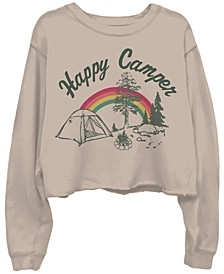 Happy Camper Cotton Cropped Sweatshirt