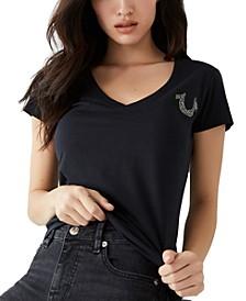 Cotton Embellished V-Neck T-Shirt