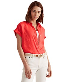Linen Dolman-Sleeve Top