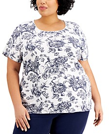 Plus Size Toile Floral-Print Top, Created for Macy's