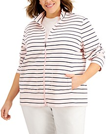 Plus Size Striped Zippered Sweatshirt, Created for Macy's
