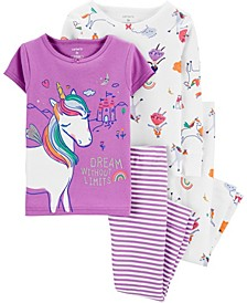 Toddler Girls 4-Piece Unicorn Snug Fit Cotton PJs