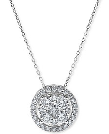 Diamond Halo Cluster Pendant Necklace (1 ct. t.w.) in 14k White Gold
