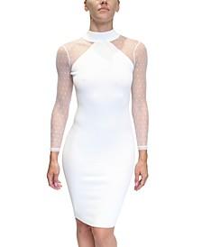 Juniors' Illusion-Sleeve Sweater Dress