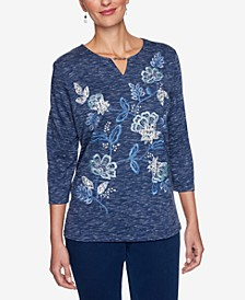 Petite Embroidered Embellished Top