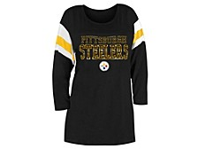 Pittsburgh Steelers Women's Sleeve Stripe Three Quarter Raglan T-Shirt