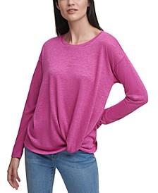 Twist-Front Long Sleeve Sweater
