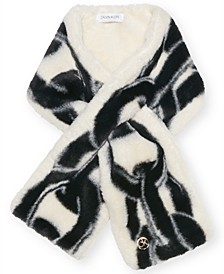 Faux Fur Chain Print Pull Through Scarf