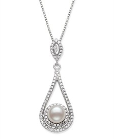 """Cultured Freshwater Pearl 6.5-7mm and Cubic Zirconia Drop Pendant in Sterling Silver with 18"""" Chain"""