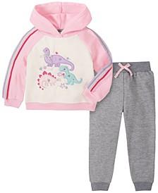 Little Girl 2-Piece Sleeve and Hood Fleece Top with Fleece Pant Set