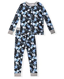 Little Boy's 2 Piece Space Print Soft and Cosy Tight Fit Pajama Set