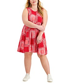 Plus Size Mixed-Print Flip-Flop Dress, Created for Macy's