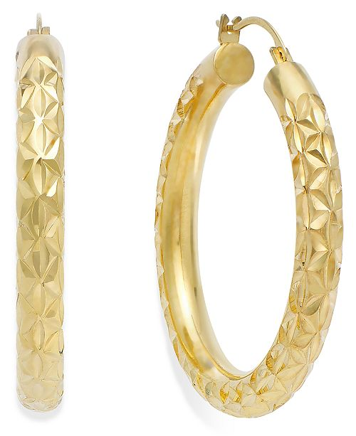 Signature Gold Diamond Cut Hoop Earrings In 14k Over Resin