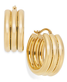 Signature Gold™ Triple Ribbed Hoop Earrings in 14k Gold over Resin
