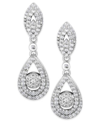 Diamond Dangling Drop Earrings in 14k White Gold or 14k Yellow Gold  (1 ct. t.w.), Created for Macy's