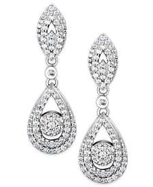 Diamond Dangling Drop Earrings in 14k White Gold (1 ct. t.w.), Created for Macy's