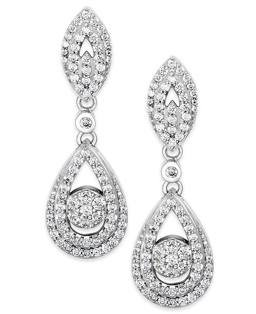 Macy's Wrapped in Love™ Diamond Dangling Drop Earrings in 14k White Gold (1 ct. t.w.), Created for