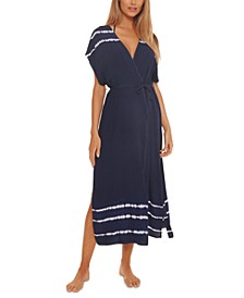 Iconic Tie-Dyed Striped Long Robe Cover-Up