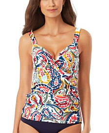 Watercolor Paisley Underwire Twist-Front Tankini Top