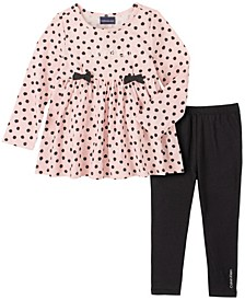 Little Girl Dots Knit Tunic with Legging, 2 Piece Set