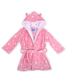 Toddler Girls Star Print Robe with Sherpa Hood