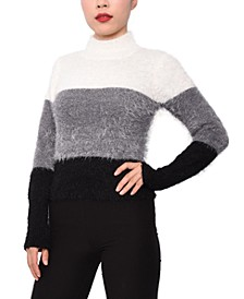 Juniors' Colorblocked Mock-Neck Sweater