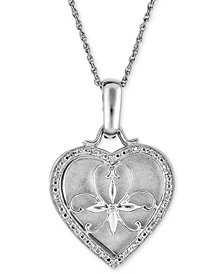 "Diamond Floral Heart 18"" Pendant Necklace (1/10 ct. t.w.) in Sterling Silver"