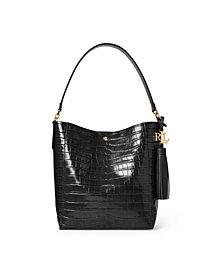 Lauren Ralph Lauren Crocodile Embossed Leather Adley Shoulder Bag