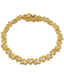 Diamond Heart Link Bracelet (1/10 ct. t.w.) Available in Sterling Silver or 18k Gold-plated Sterling Silver