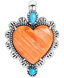 Orange Spiny & Turquoise Heart Charm Pendant Enhancer